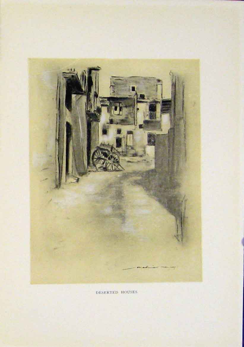 Print C1919 Fine Art Deserted Houses Sepia 197411 Old Original