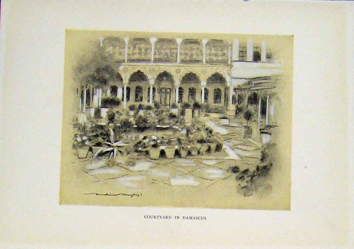 Print Courtyard Damascus Fine Art Sepai Style C1919 247411 Old Original