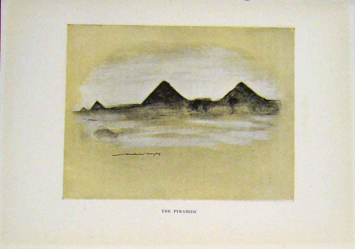 Print Pyramids Sketch Drawing Sepia Style 1919 Fine Art 287411 Old Original