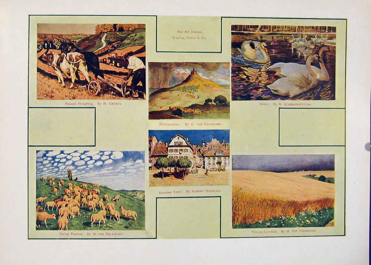 Print Color Peasant Ploughing Spring Pastoral Bavarian 017451 Old Original