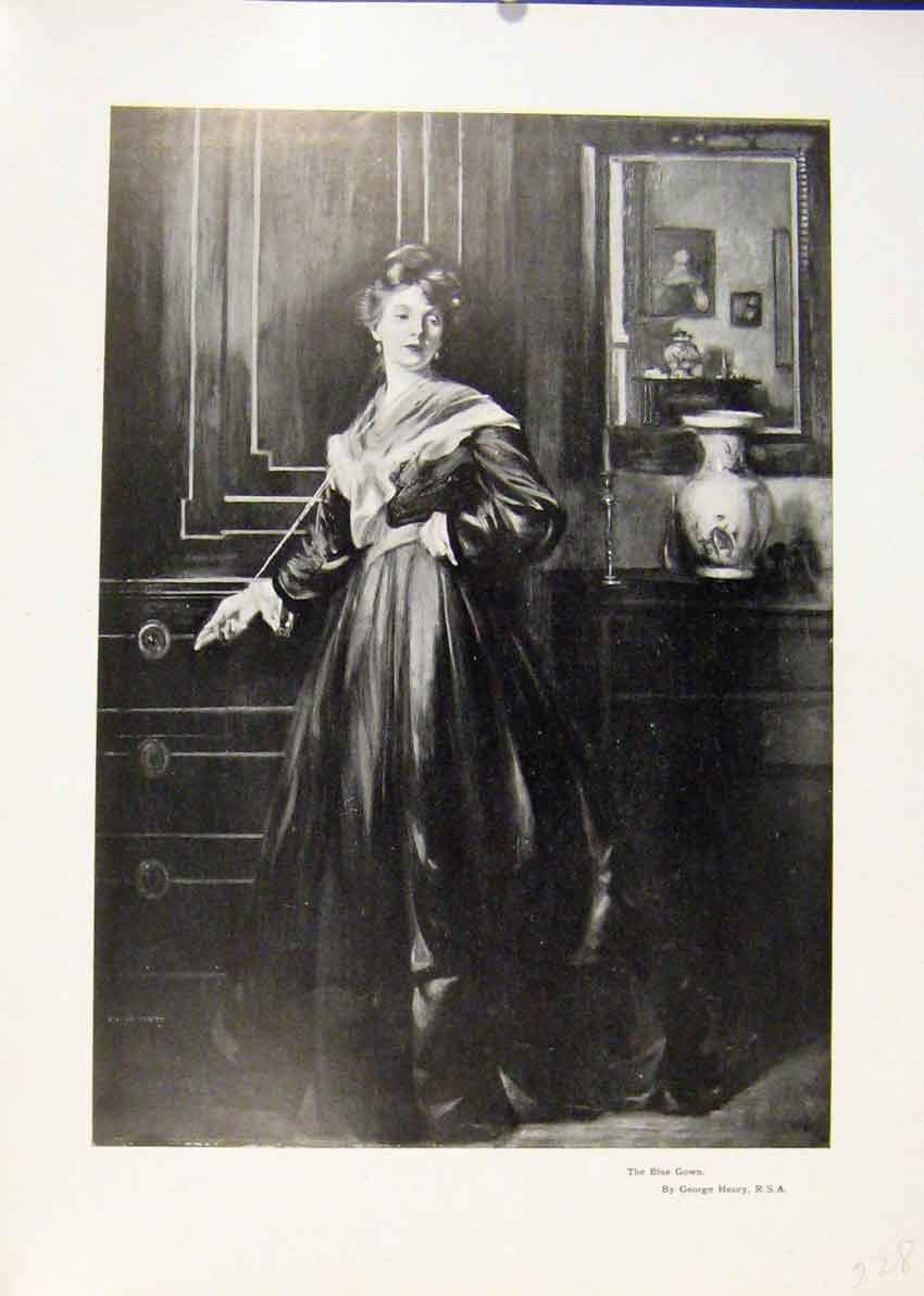 Print Blue Gown By George Henry Portrait Fine Art 287451 Old Original