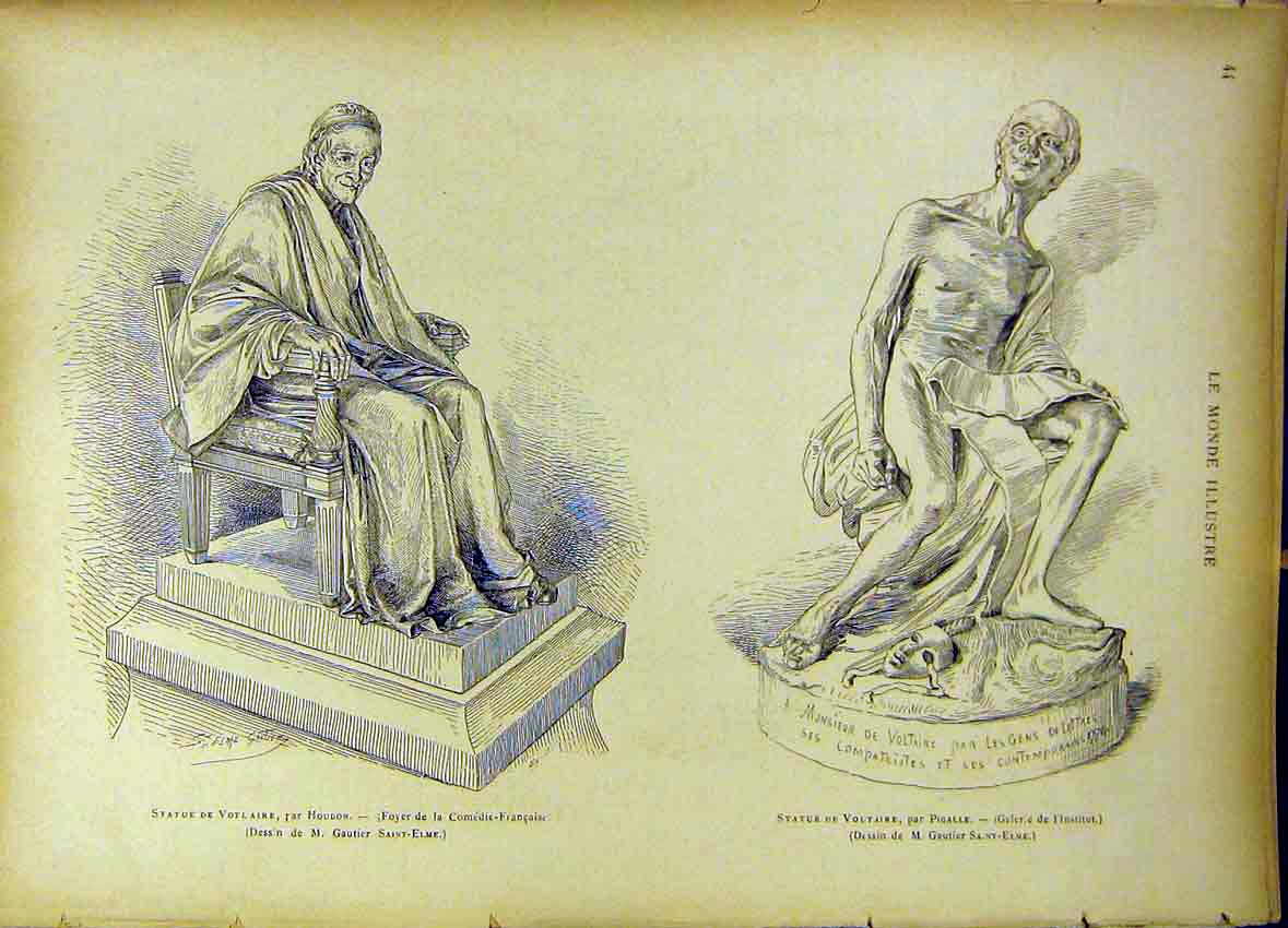 [Print Statue Voltaire Pigalle French Comedy 1885 447461 Old Original]