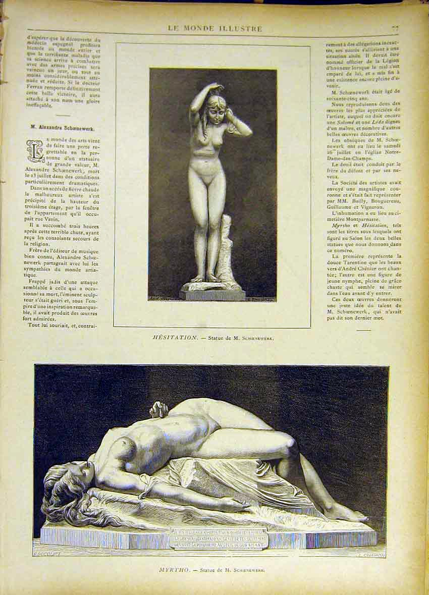 Print Sculpture Hestation Myrtho Schoenewerk 1885 777461 Old Original