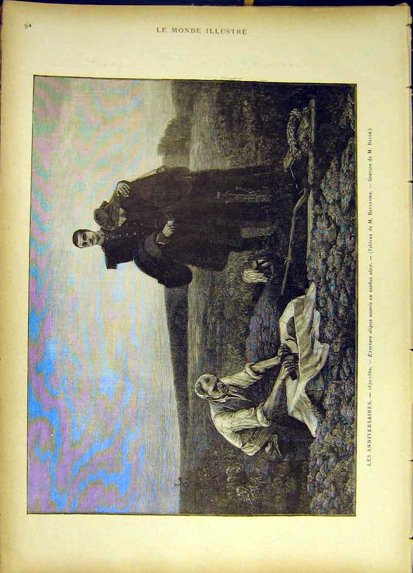 Print Anniversary Death Grave-Side Mourner 1885 927461 Old Original