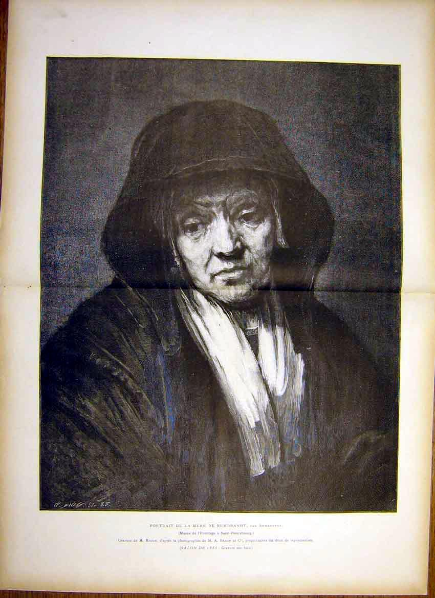 Print Portrait Mother Rembrandt Fine Art French 1885 03T7461 Old Original