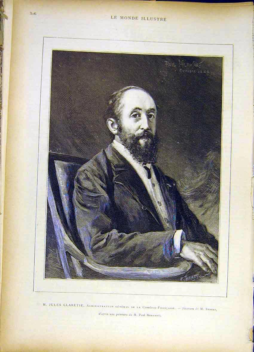 Print Portrait Jules Claretie French Comedy France 1885 167461 Old Original