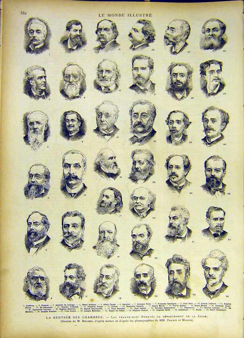 Print Seine Franch France Portrait Chambers Government 1885 327461 Old Original