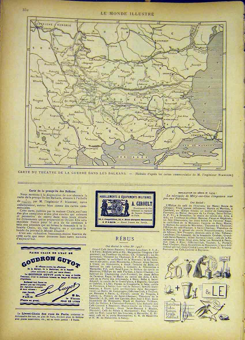 Print Map Theatre War Balkans Chart French 1885 527461 Old Original