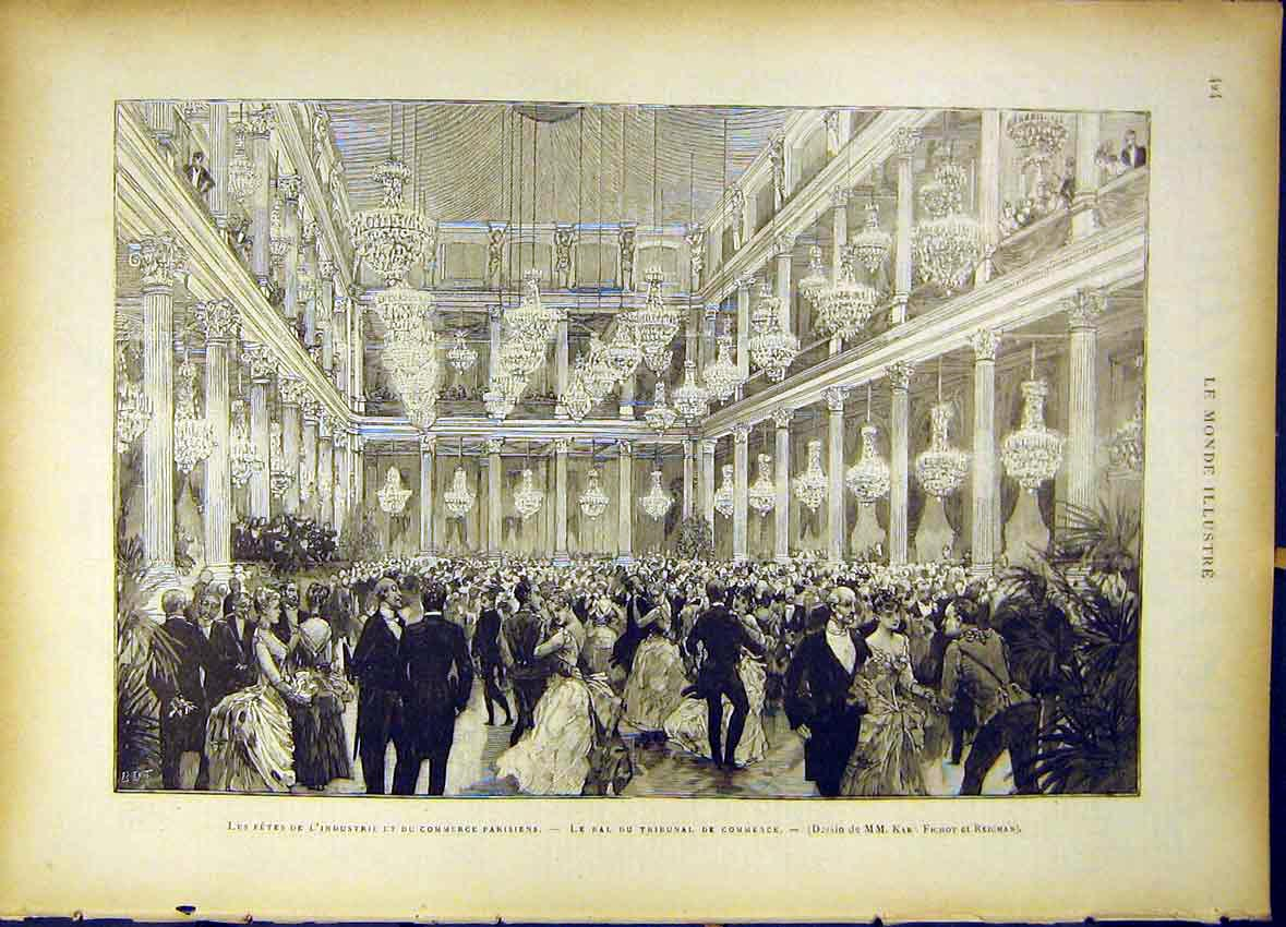 Print Fete Industrial Paris Commerce Ball Tribunal 1885 247461 Old Original