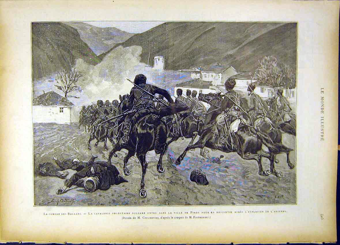 Print War Balkans Cavalry Volunteers Pirot Arsenal 1885 257461 Old Original