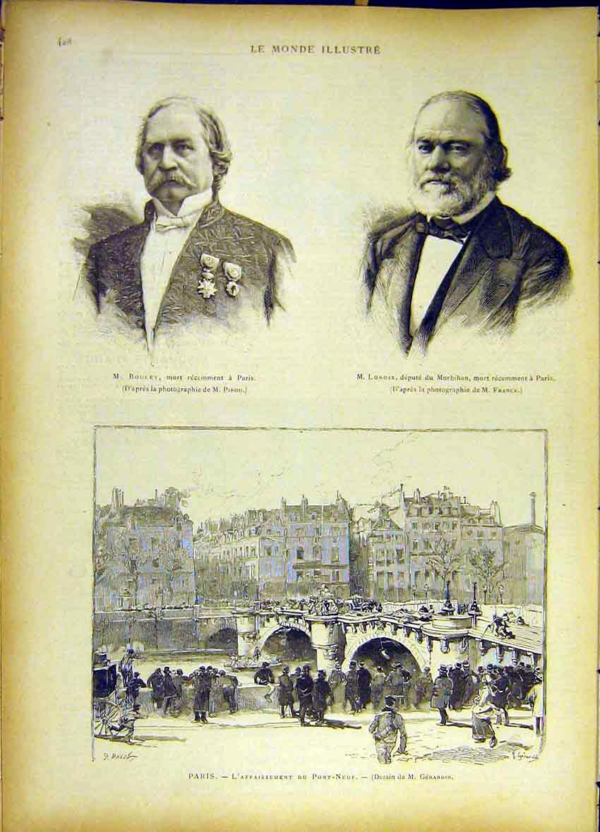 Print Portrait Bouley Lorois Paris Pont-Neuf Seine 1885 277461 Old Original