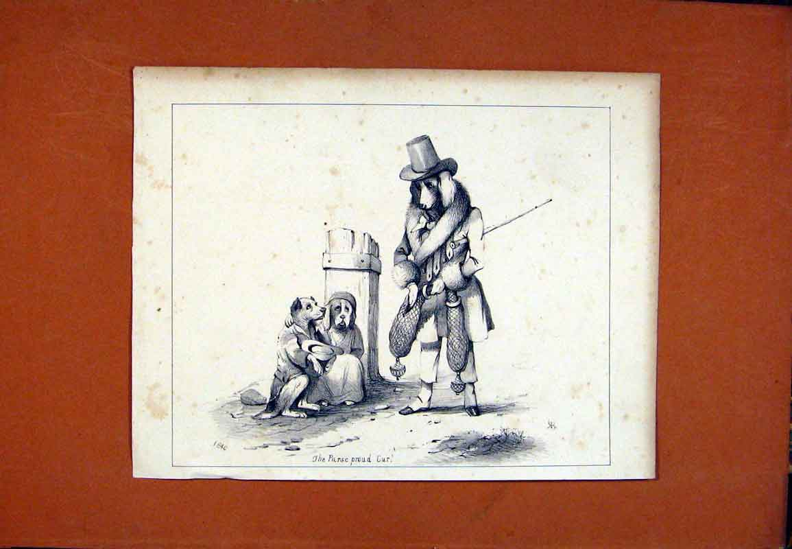 Print Dog Hound Pet Sketch Drawing Fine Art C1831 027471 Old Original