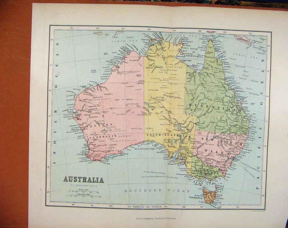 Print Chambers Encyclopaedia C1888 Map Australasia 01A7481 Old Original
