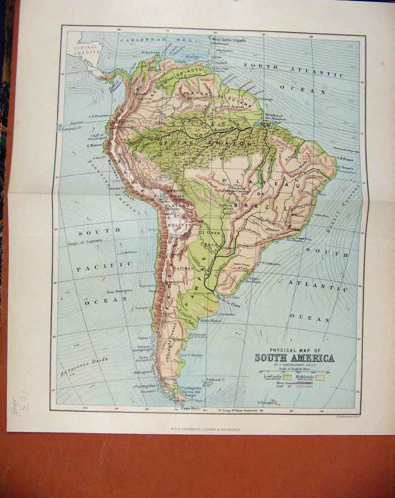 Print South America Chambers Encyclopaedia 03A7481 Old Original