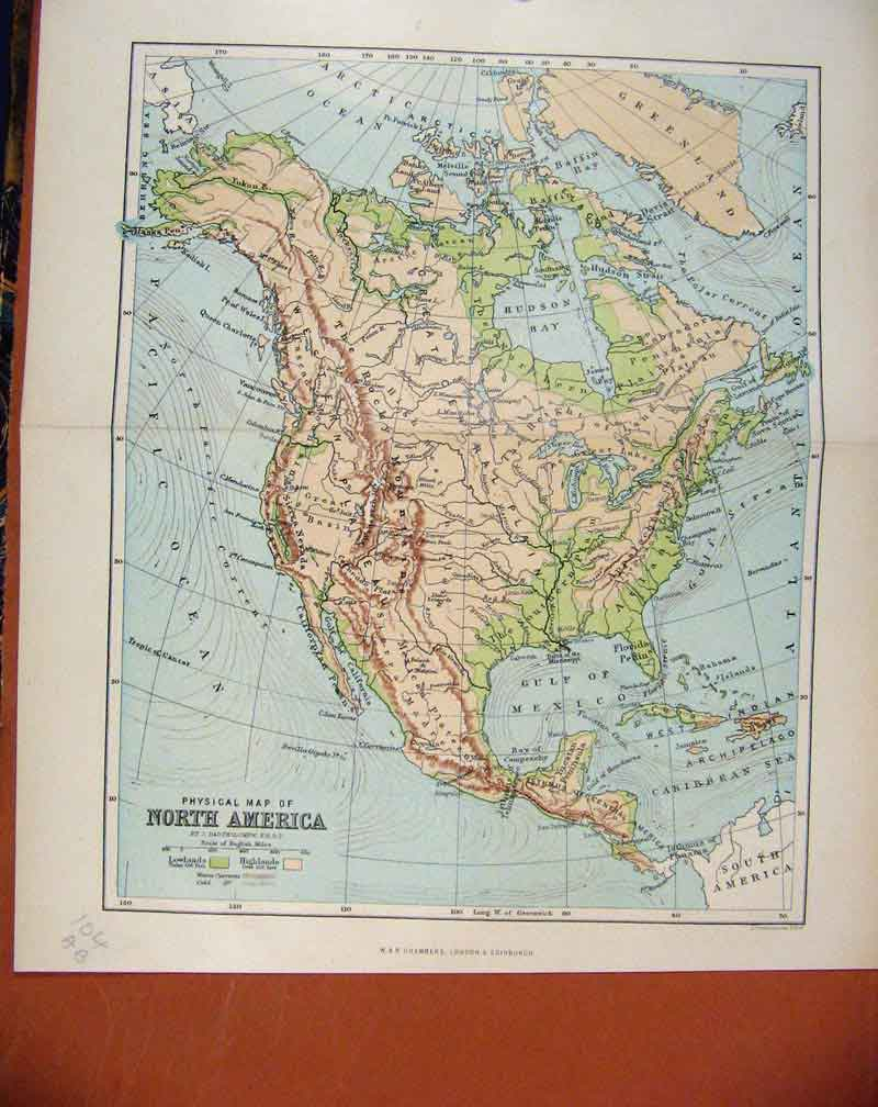 Print North America C1888 Map Chambers Encyclopaedia 04A7481 Old Original