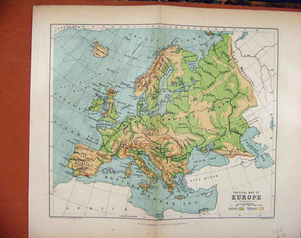 Print Europe Map C1888 Chambers Encyclopaedia 06A7481 Old Original