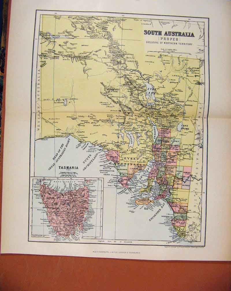 Print South Australia Chambers Encyclopaedia Map C1888 187481 Old Original
