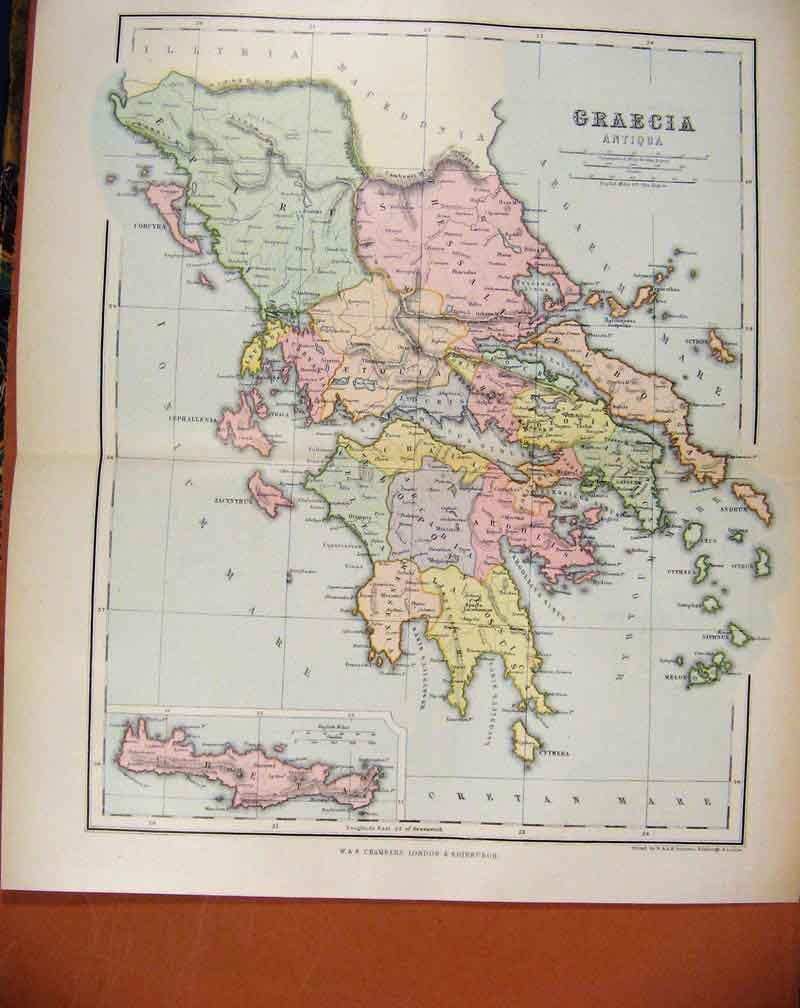 Print Graecia Antiqua Chambers Encyclopaedia Map C1888 217481 Old Original