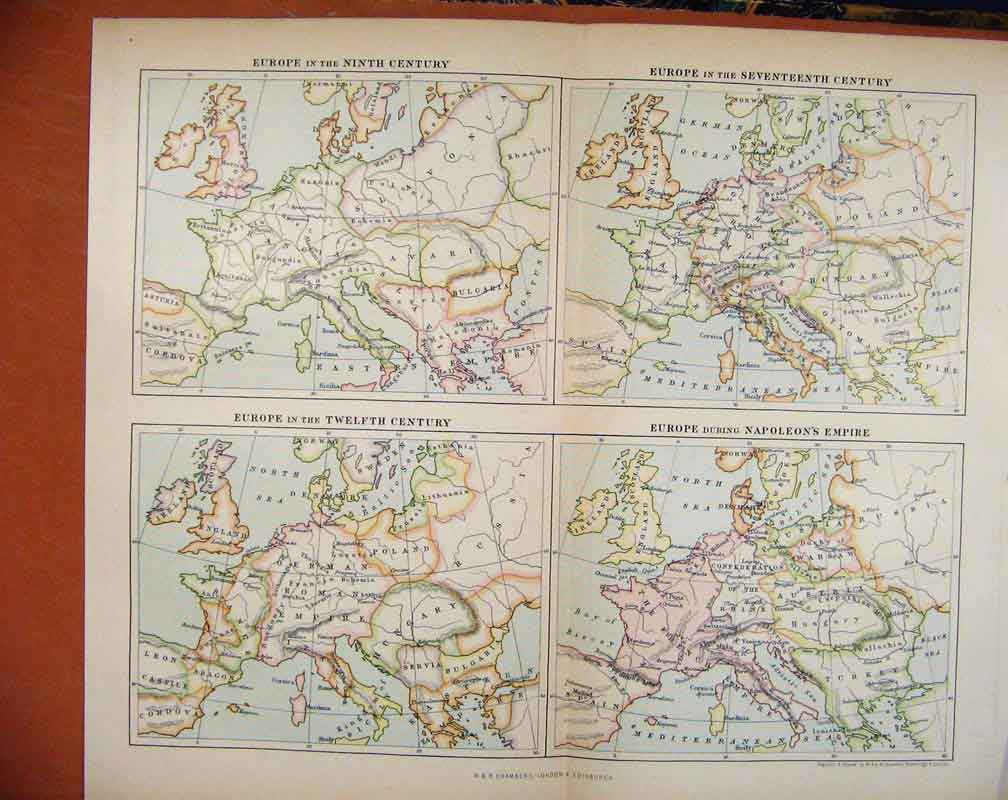 Print Europe Under Different Leadership Map Countries 1888 317481 Old Original