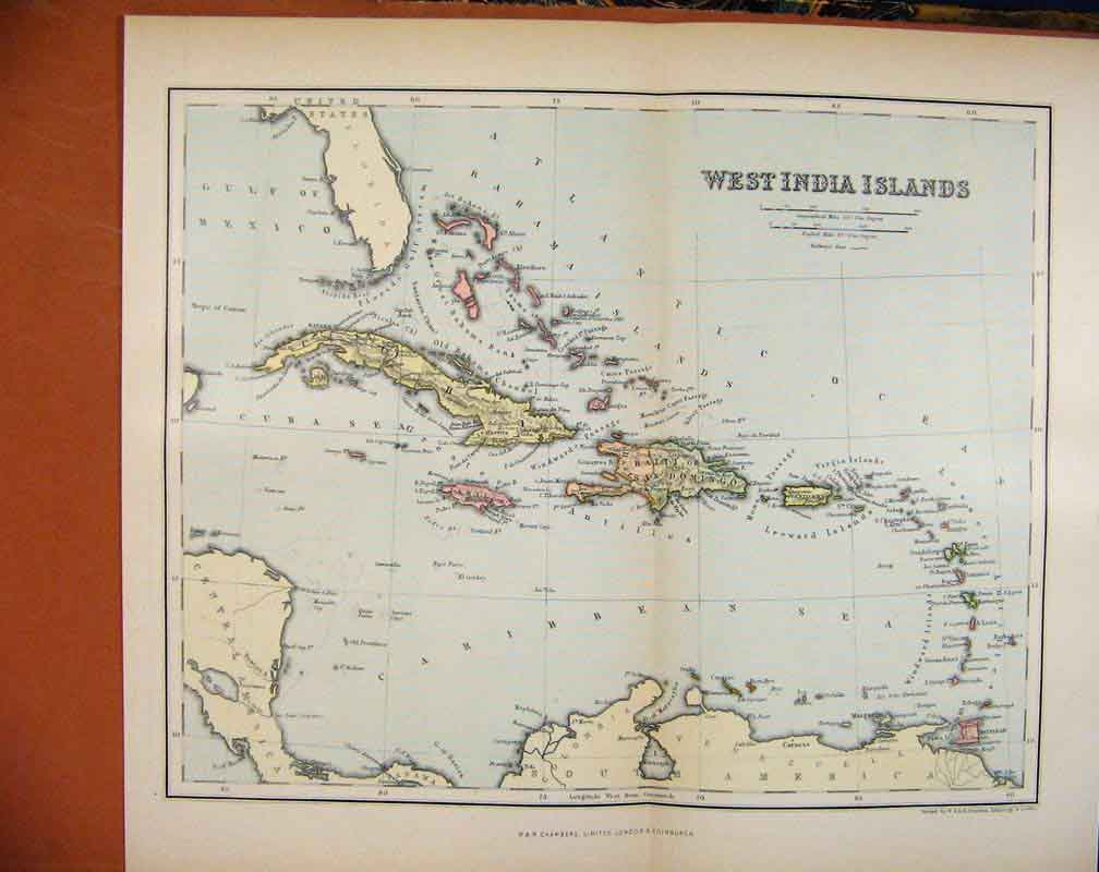 Print West India Islands Chambers Encyclopaedia Map C1888 437481 Old Original