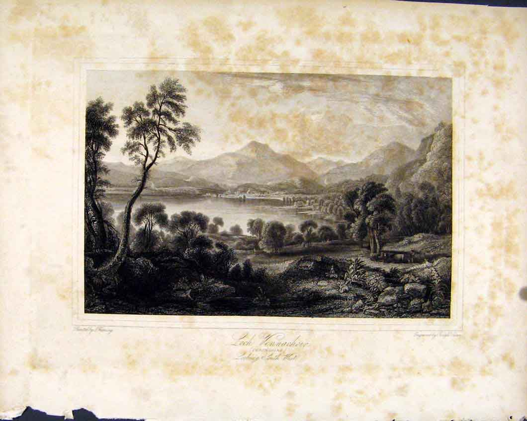 Print C1836 Loch Vennachoir Scotland Perthshire 117491 Old Original