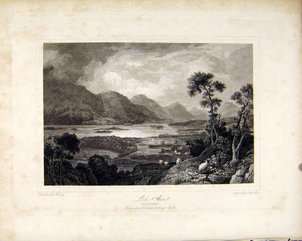 Print Scotland Loch Awe Argyleshire Scottish Lake 1836 297491 Old Original