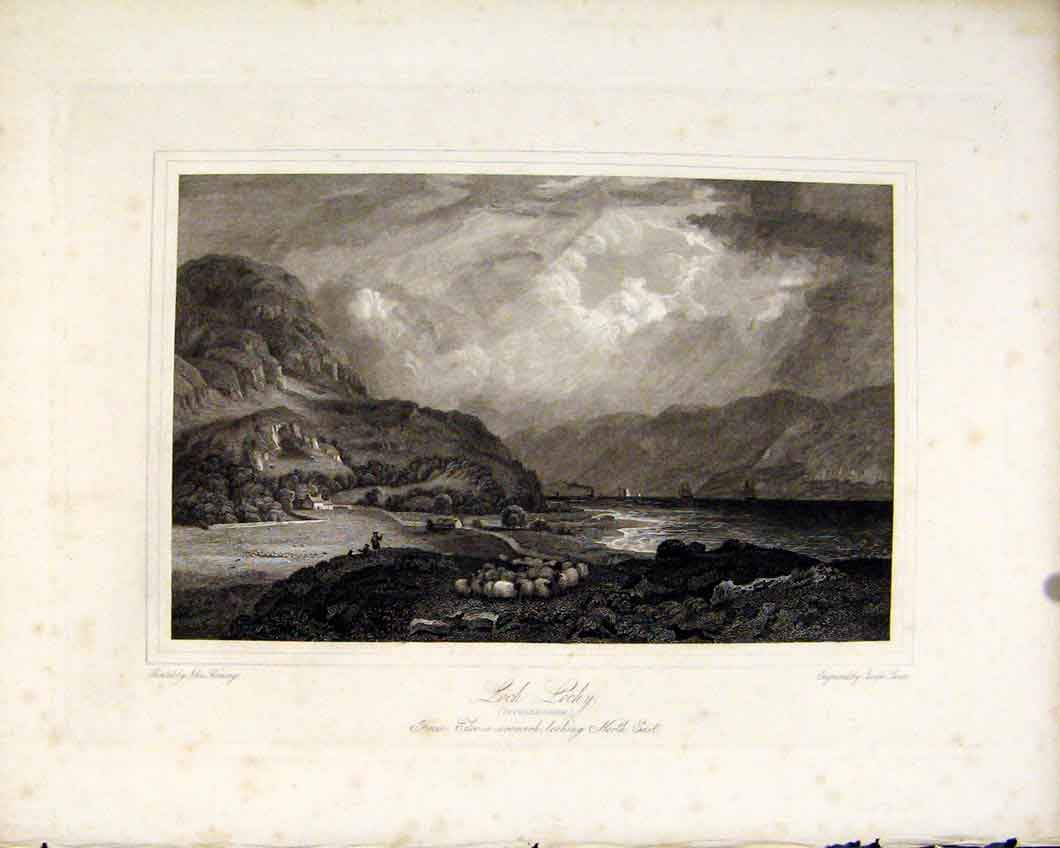 Print Loch Lochy Scotland Lakes Inverness C1836 Art 337491 Old Original