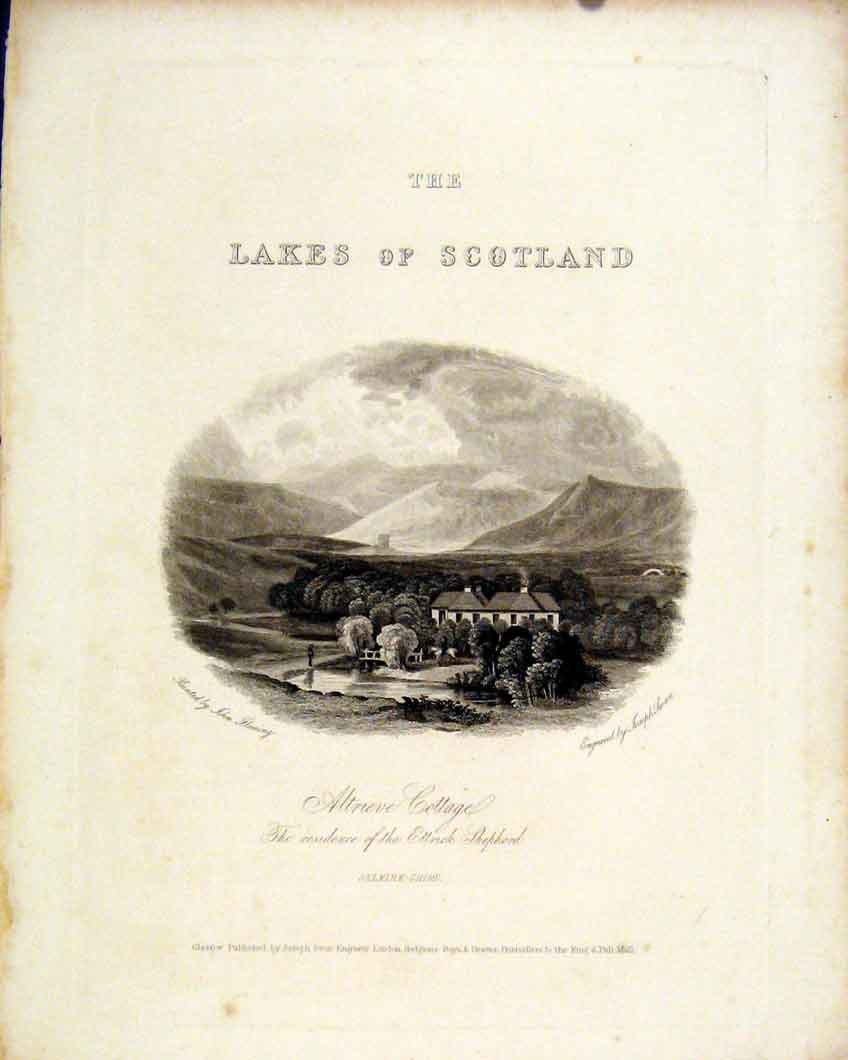 Print Scotland Lakes Altrieve Cottage Selkirkshire 1836 517491 Old Original