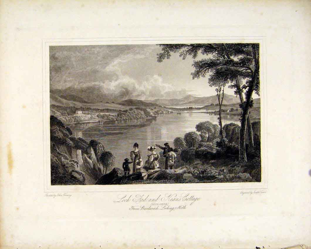 Print Loch Fad Keans Cottage Buteshire Scottish Lakes 557491 Old Original