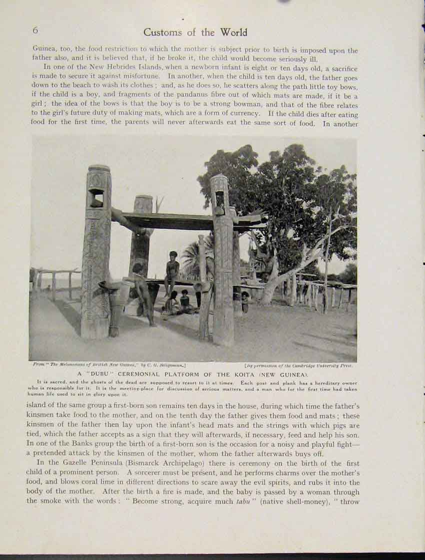 Print Dubu Ceremonial Platform Koita New Guinea Photo 067521 Old Original