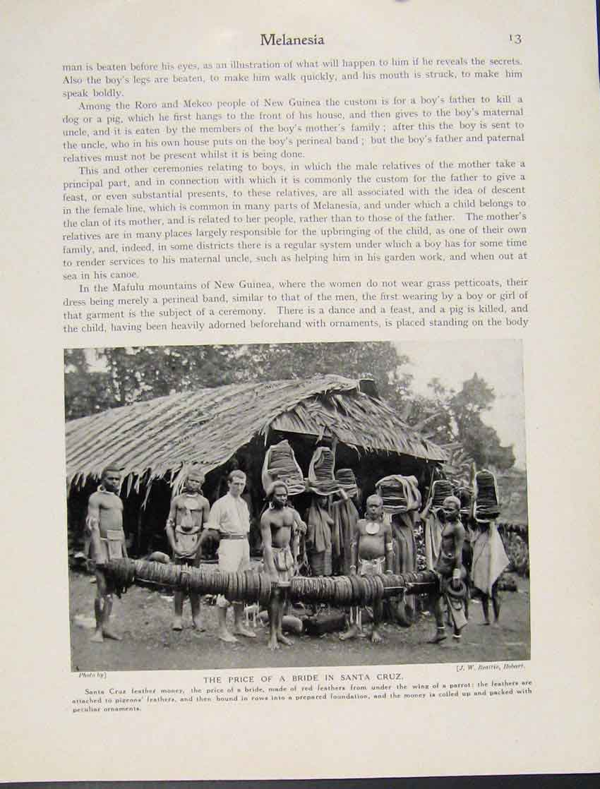 Print Melanesia Price Bride Santa Cruz Photograph 137521 Old Original