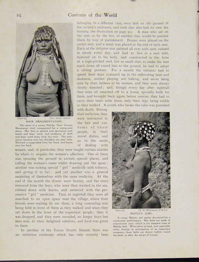 Print Hair Ornamentation Mafulu New Guinea Mountains 247521 Old Original