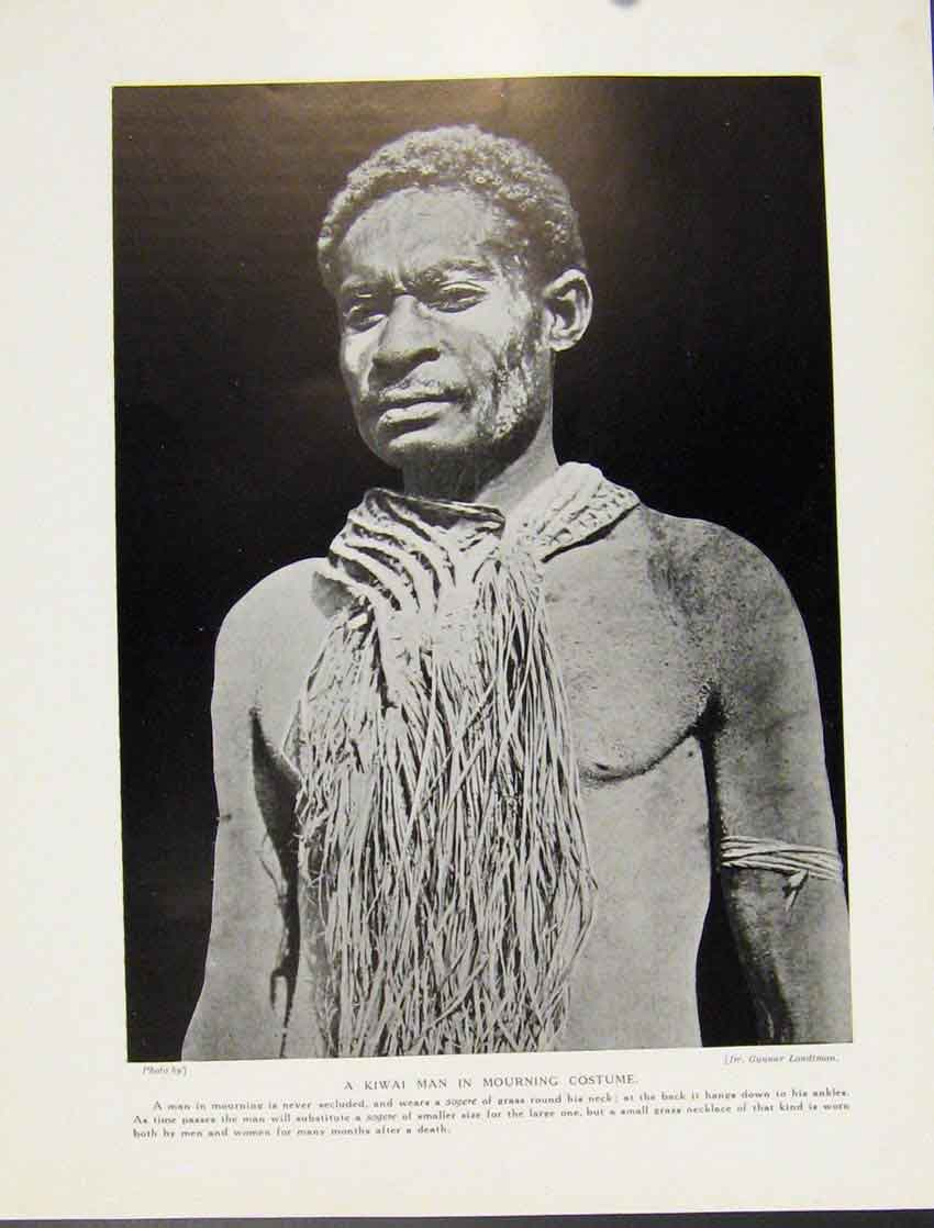[Print Kiwai Man Mourning Costume C1931 Fine Art 527521 Old Original]