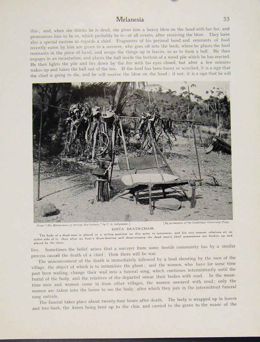 Print Melanesia Koita Death Chair Funeral Culture C1931 537521 Old Original