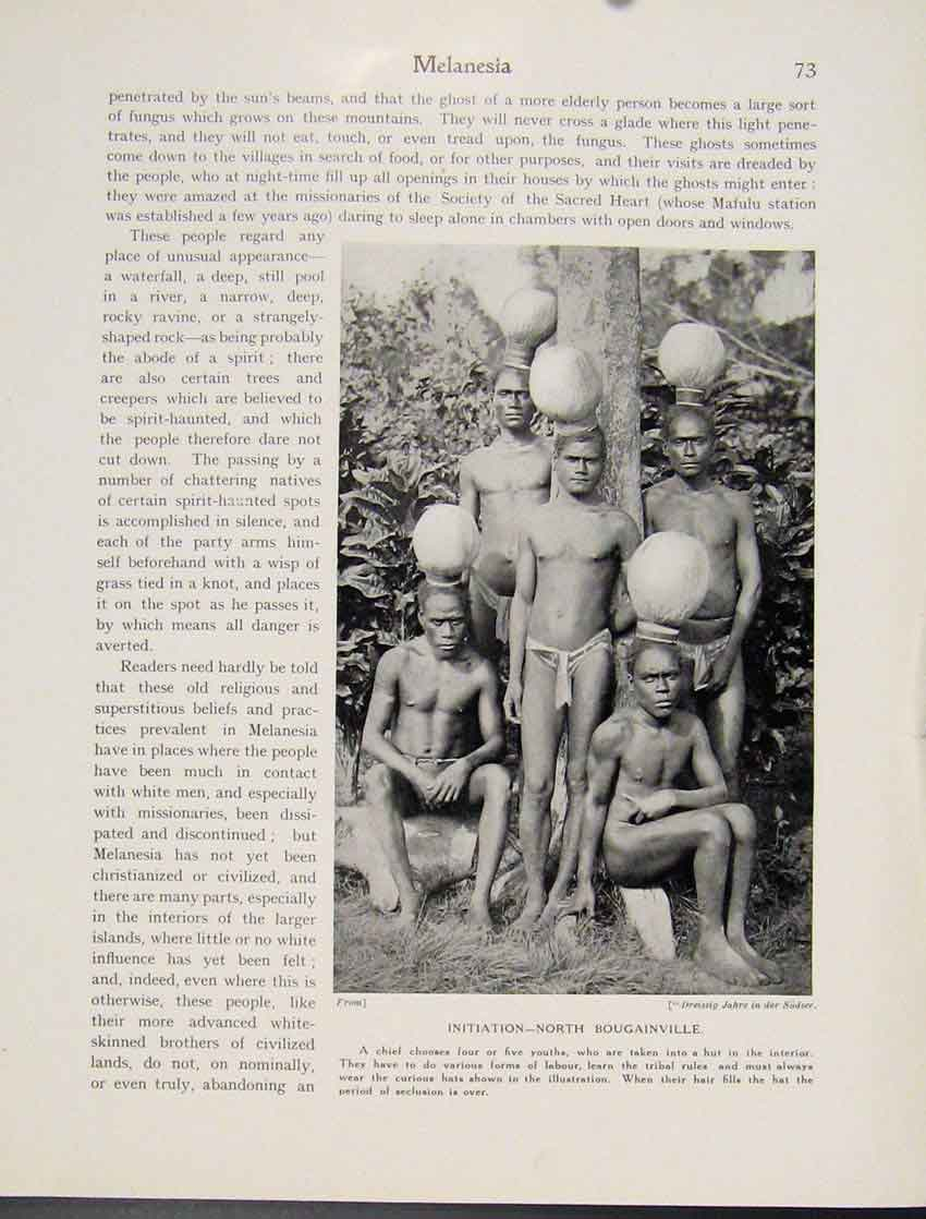 Print Initiation North Bougainville Chief Melanesia 737521 Old Original