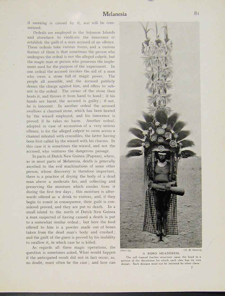 Print Roro Headdress Feather Melanesia Photograph 1931 817521 Old Original