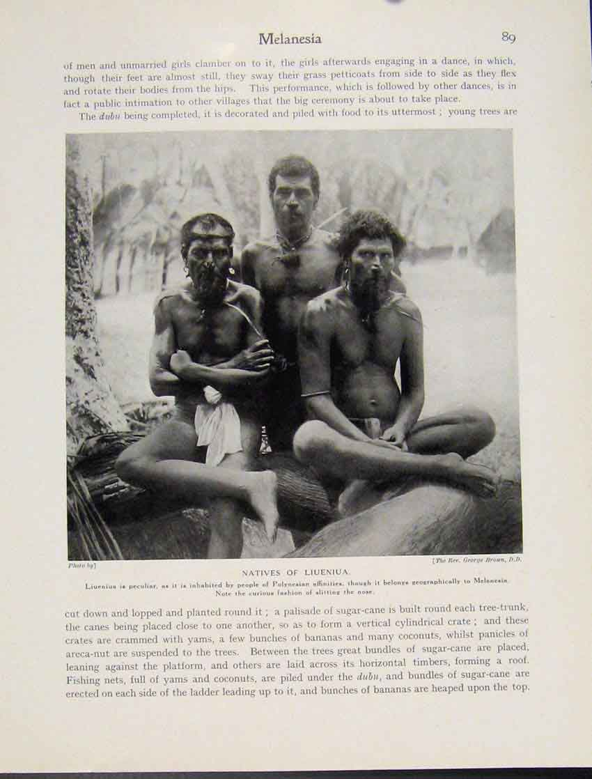 Print Melanesia Natives Liueniua Polynesian Men Photo 897521 Old Original