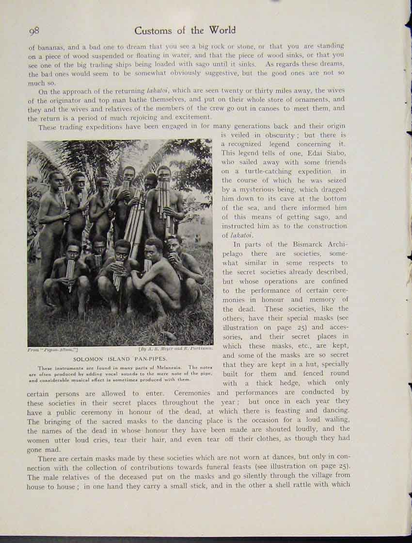 Print Solomon Islandpan Pipes Melanesia Photo C1931 987521 Old Original