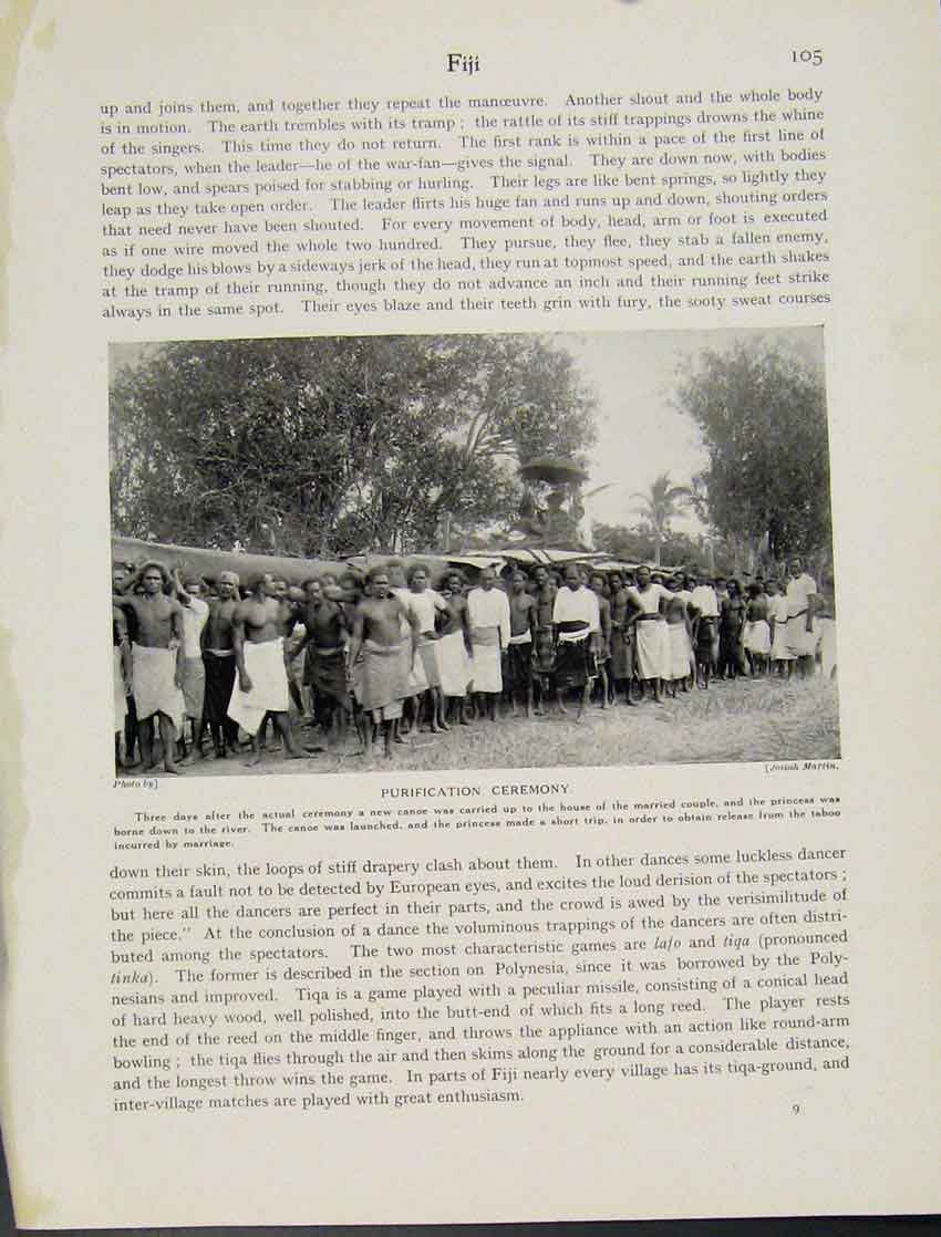 Print Fiji Purification Ceremony Photo C1931 Custom 057521 Old Original