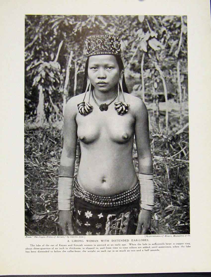 Print Lirong Woman Distended Ear Lobes Borneo 047521 Old Original