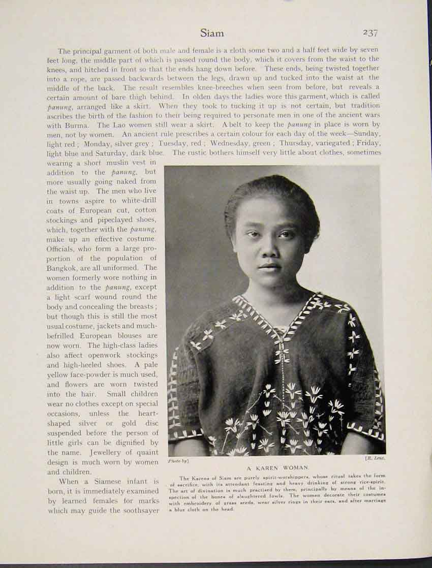 Print Siam Karen Woman Spirit Worshippers Photo C1931 377521 Old Original