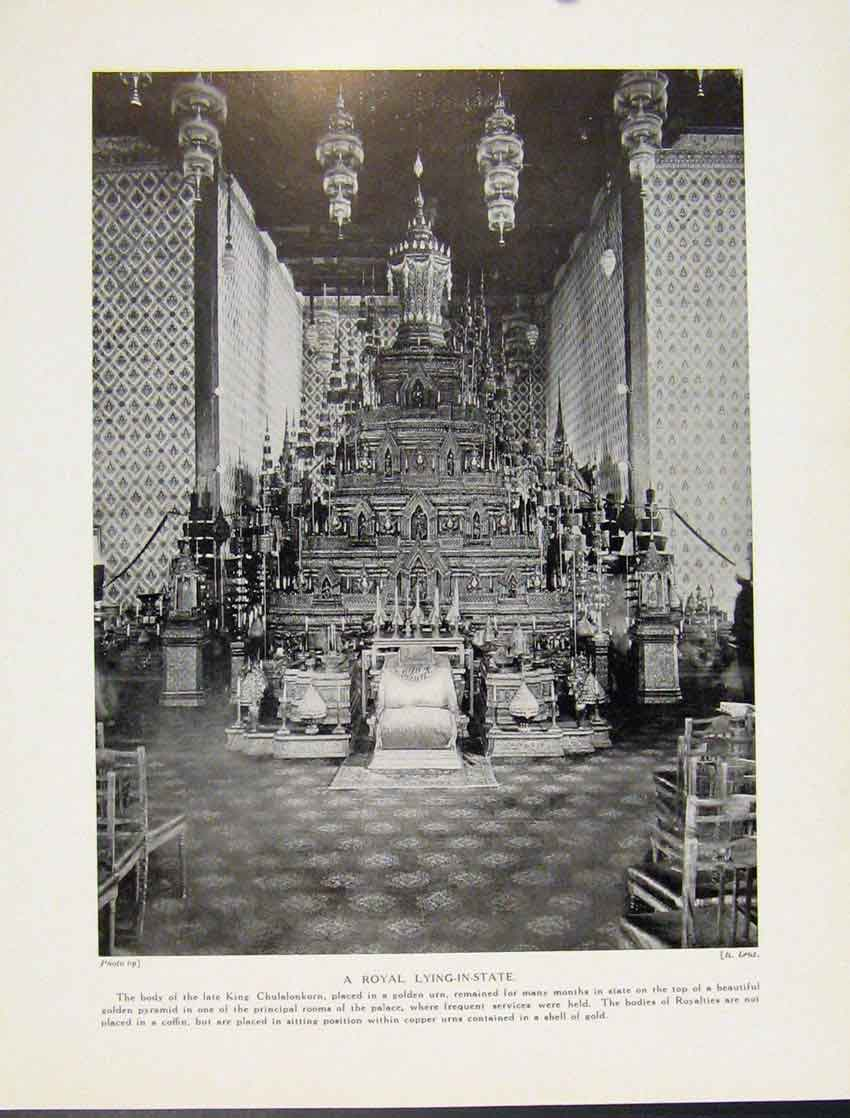 Print Royal Lying State King Chulalonkorn C1931 607521 Old Original