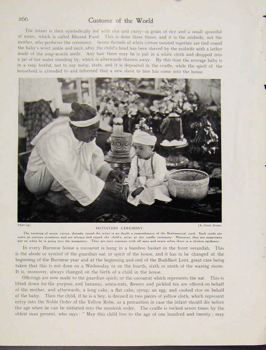 Print Initiation Ceremony Burmese Photograph Child 667521 Old Original
