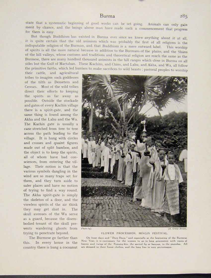 Print Flower Procession Mingin Festival Burmese Photo 857521 Old Original