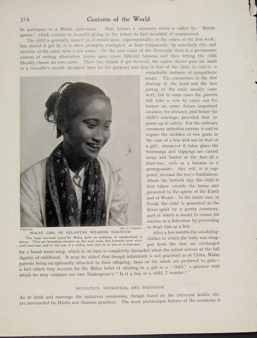 Print Malay Girl Kelantan Ear Stud Photograph C1931 147521 Old Original