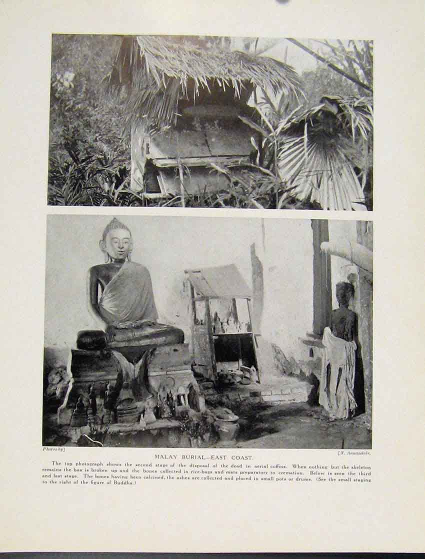 Print Malay Burial East Coast Phtograph Areial Coffins C1931 287521 Old Original