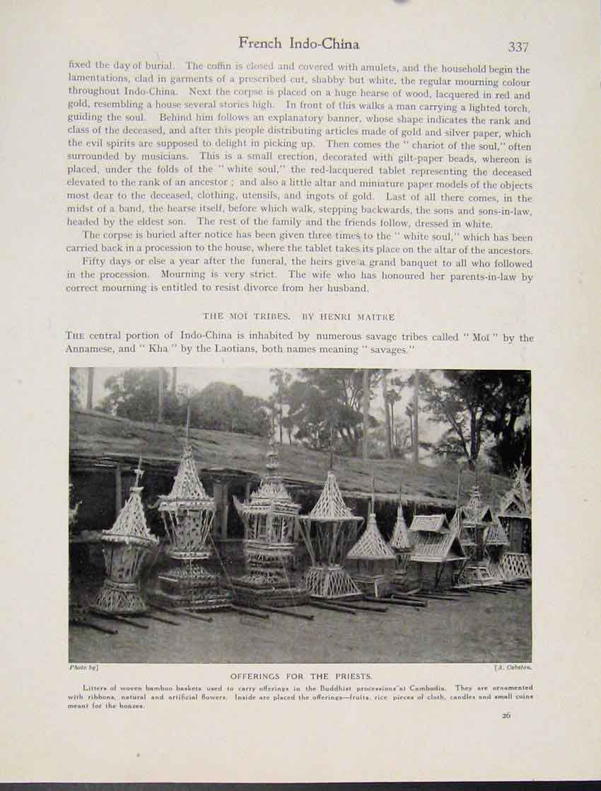 Print Offerings Priests Buddhist Processions Cambodia 377521 Old Original