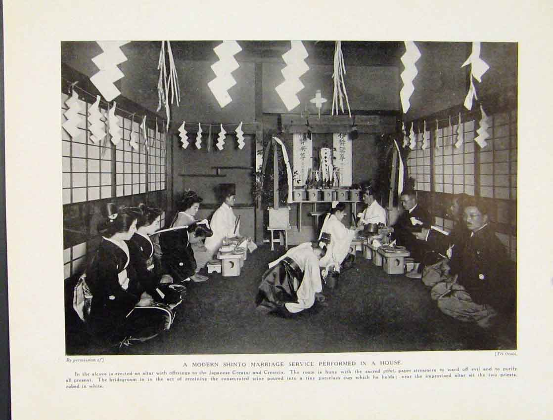 Print Modern Shinto Marriage Service Performed In House 927521 Old Original