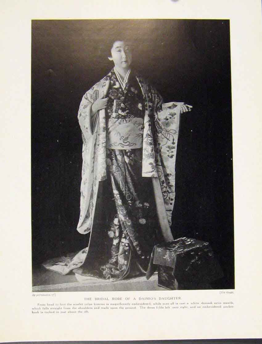 [Print Bridal Robe Daimios Daughter Mandarin Chinese Culture 967521 Old Original]