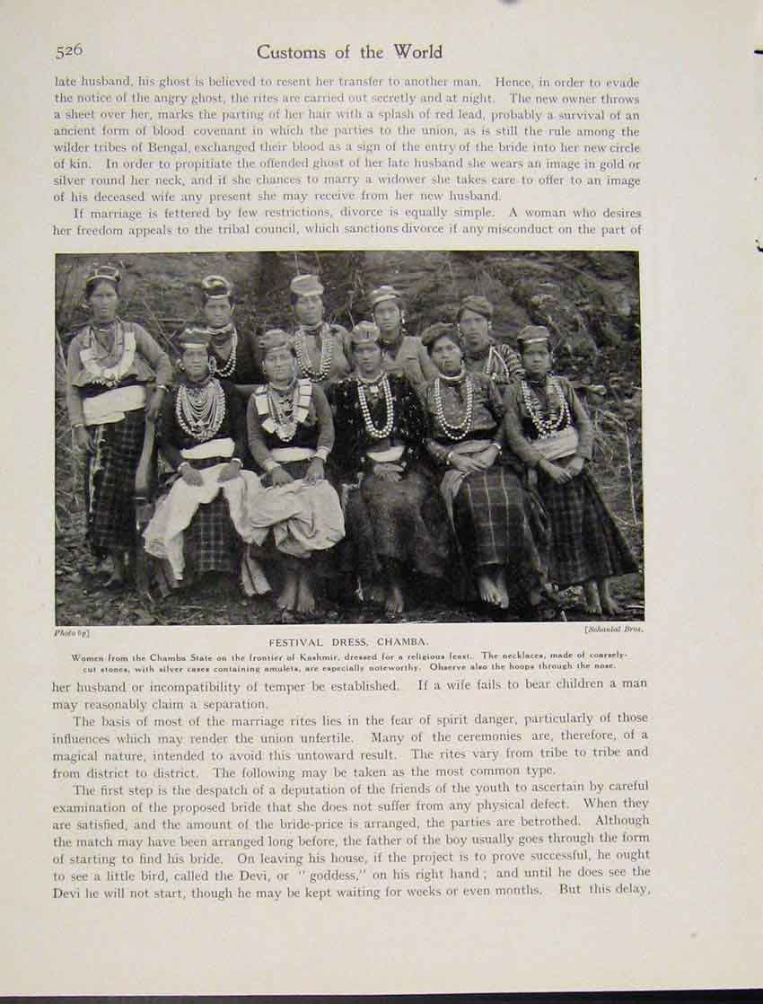 Print C1931 Festival Dress Chamba Kashmir Photograph 267521 Old Original